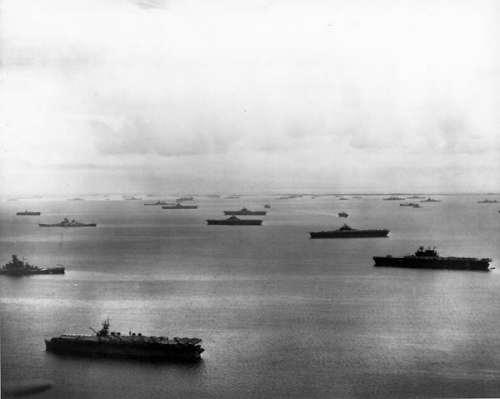 參加台灣航空戰和雷伊泰海戰的美軍艦隊 台灣航空戰並未達成日軍希望削減美軍艦隊戰力的目標